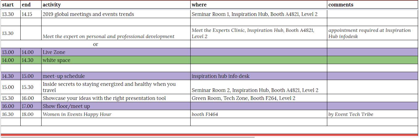 IMEX schedule